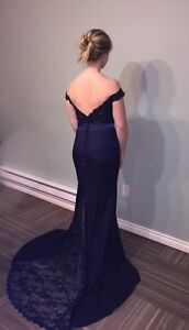 Navy blue mermaid off the shoulder prom dress with lace train