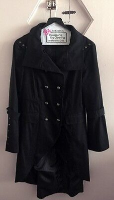 Women's Black Gothic Steampunk Military Cotton Coat UK12M US 10M Made in the UK (Women In The Gothic)