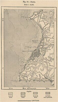 Salvador de Bahia. Brazil 1885 old antique vintage map plan chart