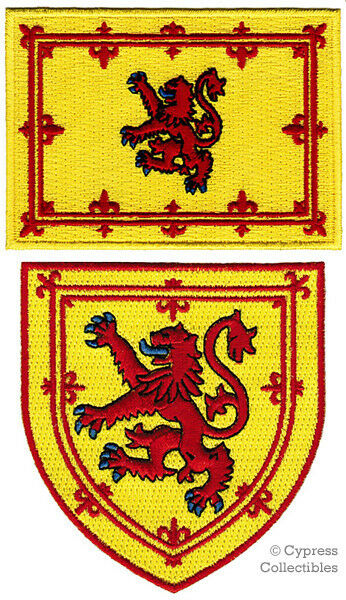 LOT of 2 SCOTLAND FLAG PATCH EMBROIDERED IRON-ON SCOTTISH LION COAT ARMS SHIELD