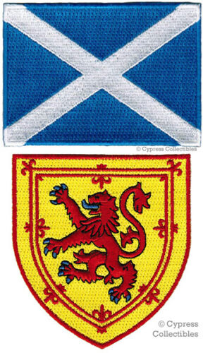 LOT of 2 SCOTLAND FLAG PATCHES IRON-ON SCOTTISH LION COAT ARMS SHIELD