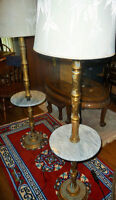 2 Brass Floor lamps with Marble table tops
