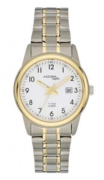 Adora Damenuhr Uhr Bicolor Titan Datum Saphirglas 10BAR 30mm AS4559
