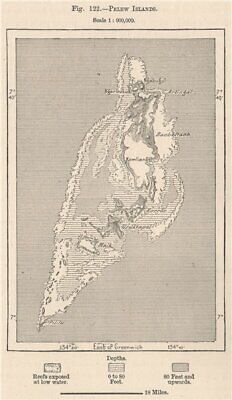 Palau Islands. Pacific Ocean. Micronesia 1885 old antique map plan chart