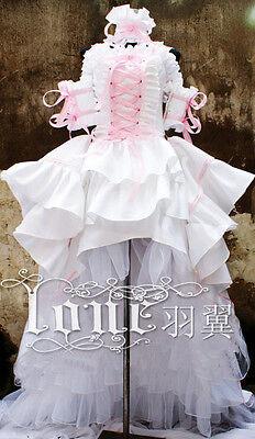 Chobits Chii Cosplay Kostüm costume Abend-Kleid Lolita Gothic White Weiss Rosa