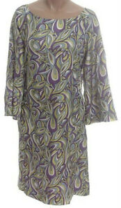 NEW - 100% Silk Retro Print A-Line Dress - XS