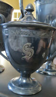 Silver Plate Tea Set -  Monogram S on it