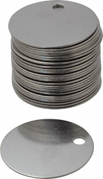 "1-1/2"" Diameter Round Stainless Steel Blank Metal Tag Blank, 25 Pieces"