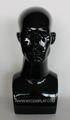 17.25 In Height Male Mannequin Head Bust Form Bust Mannequin Glossy Black Mh7gb