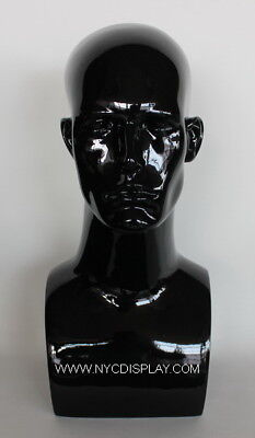 17 In Male Head Mannequin Bust Form Display Mannequin Glossy Black Finish H7wt