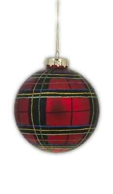 RED PLAID Glass Ball  Christmas Ornaments, by Ganz