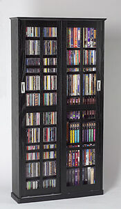 NEW in BOX Sliding Glass Door CD/DVD Storage Cabinet