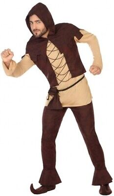 Mens Medieval Peasant Villager Innkeeper Carnival Fancy Dress Costume Outfit M/L