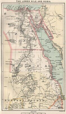 The lower Nile and Nubia. Egypt. Red Sea. BARTHOLOMEW 1886 old antique map