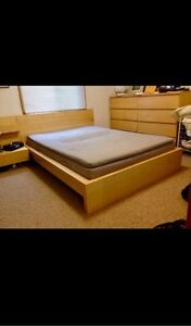 Ikea Malm Birch Double Bed Frame w/Night Stand - Free Delivery
