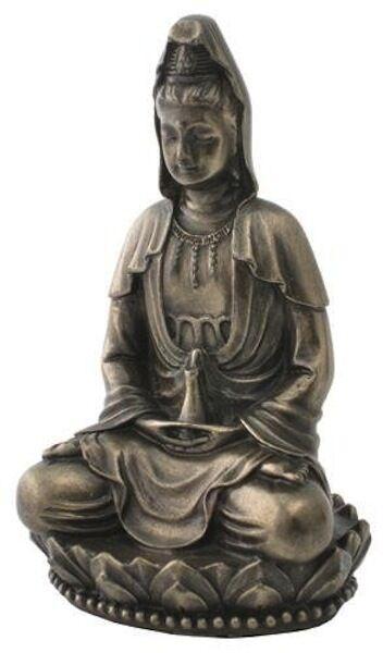 "NEW 3"" Quan Yin On Lotus Goddess of Compassion Mercy Kindness Figurine Kwan Guan"