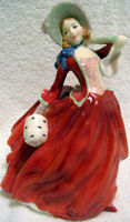 """VINTAGE RARE ROYAL DOULTON HN 1934 """"Autumn Breeze""""…Lady in Red"""