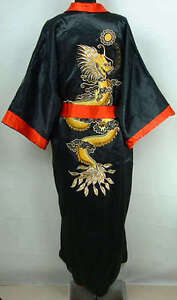 Double-Face Chinese Silk Men's Kimono Robe Gown Bathrobe Dress  M L XL XXL XXXL
