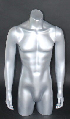 38 In Tall Male Torso Mannequin Torso Arms Free Standing Silver Colored Mt2-st