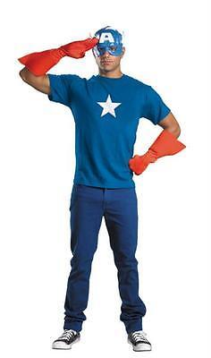 Captain America Handschuhe (Erwachsene Captain America Satz Halb Maske Handschuhe Emblem Kostüm DG23435)