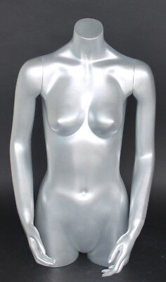 32 In Tall Female Torso Mannequin Torso Arms Free Standing Silver Colored Ft2-st