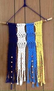 Blue white and yellow macrame wall hanger