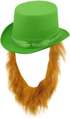 Irisch St.Patrick's Day Hut mit Bart Neuheit Plüsch Kostüm Lucky Kleeblatt - Irischer Hut Kostüm