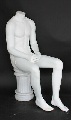 47 In Tall Male Headless Sitting Mannequin Matte White Torso Form Stm050wt- New