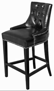 3 - Black Tufted BarStools n Counter Height Kitchen Stools on Special
