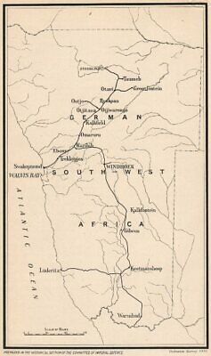 NAMIBIA. German South-West Africa. First World war. Communications 1931 map