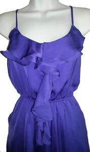 Purple Blue Satin Flirty Ruffled Front Lined Dress - Medium Gatineau Ottawa / Gatineau Area image 3
