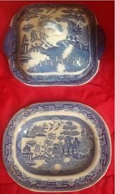 Willow ware tureen and serving plate