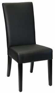 6 Restaurant Quality High Back Black Leather Dining Room Chair