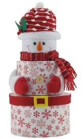 Set Of 3 Round Christmas Nested Gift Boxes - Snowman