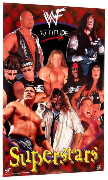 W W F Attitude Superstars Collage Poster From 1999 Wwe