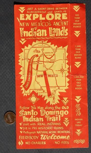 1960s Route 66 New Mexico Santo Domingo Trail Native American Indian brochure!