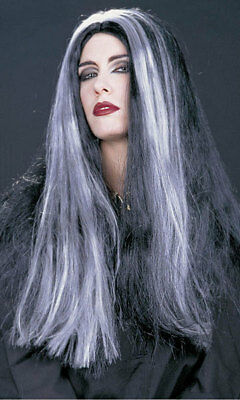 Ladies Womens Long Black Grey Morticia Witch Fancy Dress Wig Halloween NEW