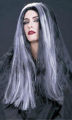 Damen lang schwarz grau Morticia Hexe Kostüm Perücke Halloween NEU