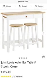 John Lewis Adler bar table and stools