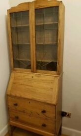 Antique writing bureau with leaded glass bookcase