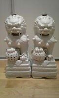Pair of white porcelain Chinese foo dogs (Guardian lions)