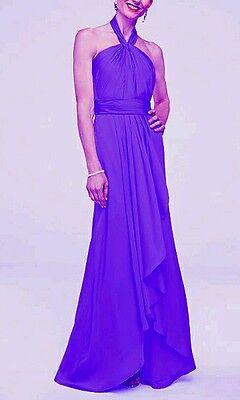 Davids Bridal Bridesmaid Dress Formal Prom Long Size 10 Blue Purple New Womens