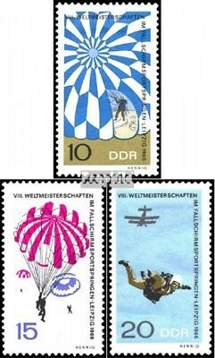 DDR 1193-1195 (compleet.Kwestie) gestempeld 1966 Parachutespringen