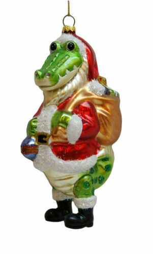 Santa Clause Alligator Glass Christmas Ornament  79-79965 December Diamonds
