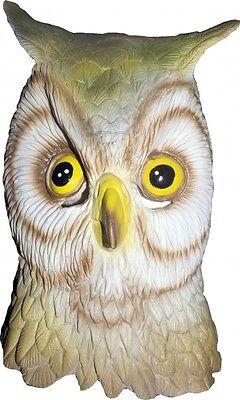 Full OWL Mask Latex Head Bird DELUXE Costume Facemask Halloween Fancy Dress NEW