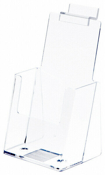 Plymor Clear Acrylic Tri-Fold Brochure Holder (For Counter/Slatwall) (12 Pack)