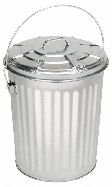 """PRO-SOURCE Galvanized 10 Gallon Metal Can with Lid, 15-5/16"""" High"""