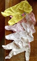 Lot of five Newborn Girl sleepers