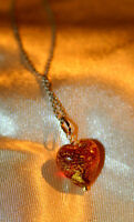 BEAUTIFUL RED GLASS GOLD HEART