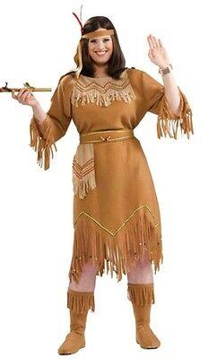 Indian Princess Costume Female Pocahontas Native American Maiden Plus Size XL - Plus Size Princess Costumes